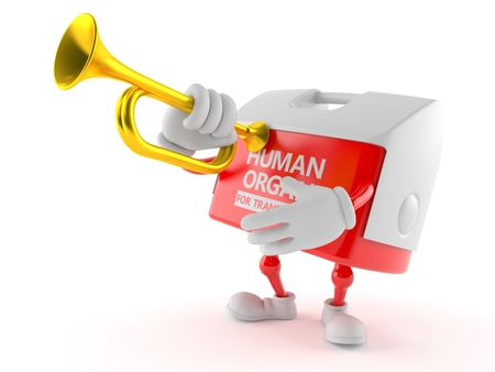 Transplant box character playing the trumpet isolated on white background. 3d illustration Stock Photo