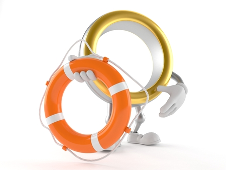 Wedding ring character holding life buoy isolated on white background. 3d illustration