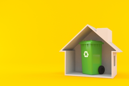 Dustbin inside house cross-section isolated on orange background. 3d illustration Stock Photo