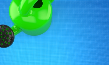 Watering can on blueprint background. 3d illustration