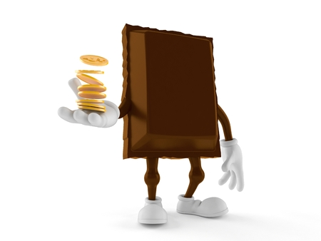 Chocolate character with stack of coins isolated on white background. 3d illustration
