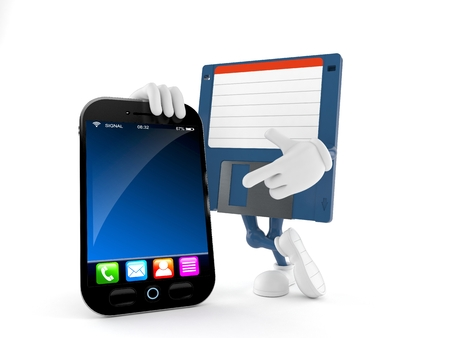 Floppy disk character with smartphone isolated on white background. 3d illustration