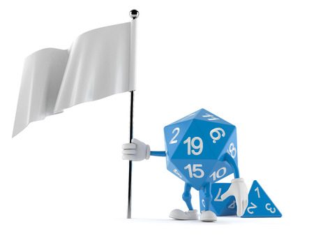 RPG dice character with blank flag isolated on white background. 3d illustration
