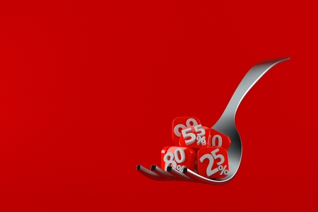 Fork with percent symbols isolated on red background. 3d illustration Banque d'images - 108754528