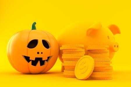 Savings background with jack o'lantern in orange color. 3d illustration