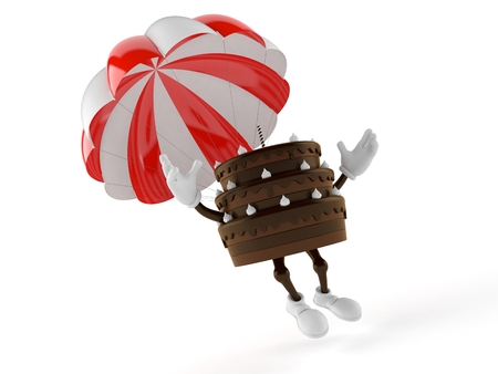 Cake character with parachute isolated on white background. 3d illustration