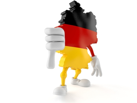 German character with thumbs down gesture isolated on white background. 3d illustration