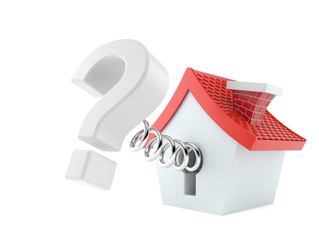 Question mark with small house isolated on white background. 3d illustration