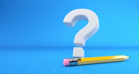Question mark with pencil on blueprint background. 3d illustration