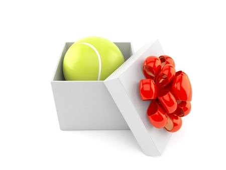 Tennis ball inside gift isolated on white background. 3d illustration