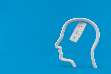 Pregnancy test inside head profile isolated on blue background. 3d illustration