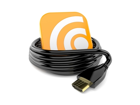 Reel of HDMI cable with RSS icon isolated on white background. 3d illustration