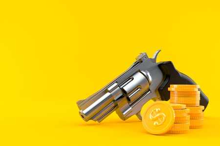 Gun with stack of coins isolated on orange background. 3d illustration