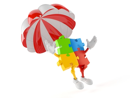 Jigsaw puzzle character with parachute isolated on white background. 3d illustration