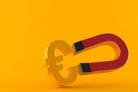 Horseshoe magnet with euro currency symbol isolated on orange background. 3d illustration