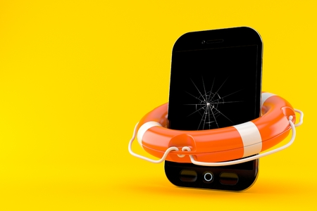 Broken smart phone with life buoy isolated on orange background. 3d illustration