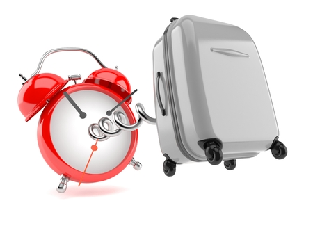 Suitcase with alarm clock isolated on white background. 3d illustration