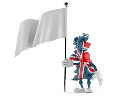 UK character with blank flag isolated on white background. 3d illustration