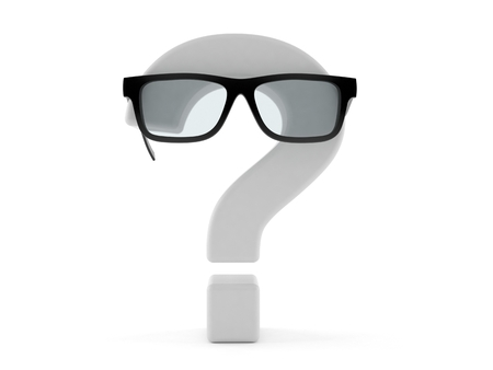 Question mark with glasses isolated on white background. 3d illustration Stock Photo