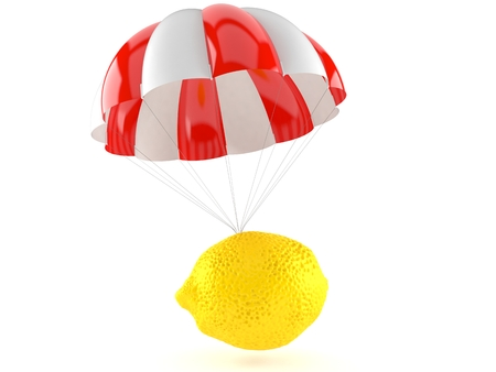 Lemon with parachute isolated on white background. 3d illustration Stock Photo