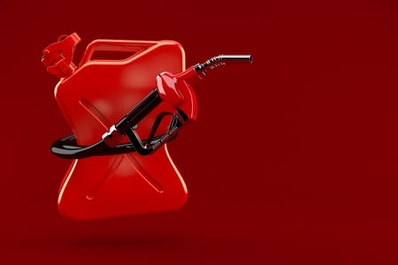 Gasoline nozzle with canister isolated on red background. 3d illustration