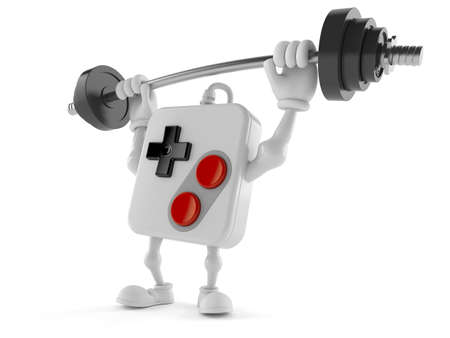 Gamepad character lifting heavy barbell isolated on white background. 3d illustration Standard-Bild
