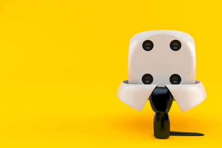 Business collar with dice isolated on orange background. 3d illustration