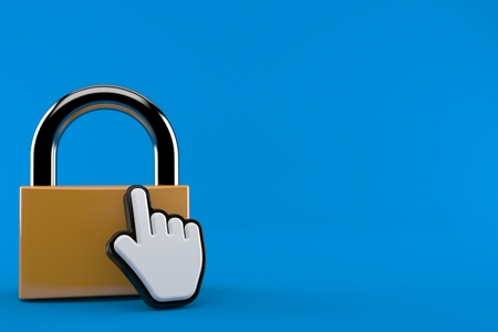 Padlock with web cursor isolated on blue background. 3d illustration