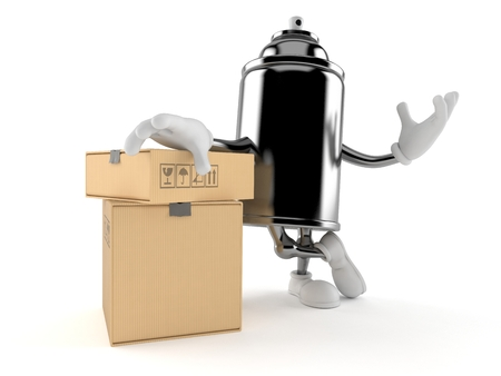 Spray can character with stack of boxes isolated on white background. 3d illustration Imagens