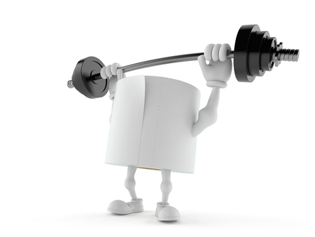 Toilet paper character lifting heavy barbell isolated on white background. 3d illustration