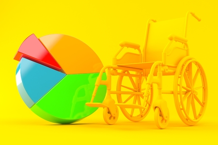 Wheelchair background with pie chart in orange color. 3d illustration