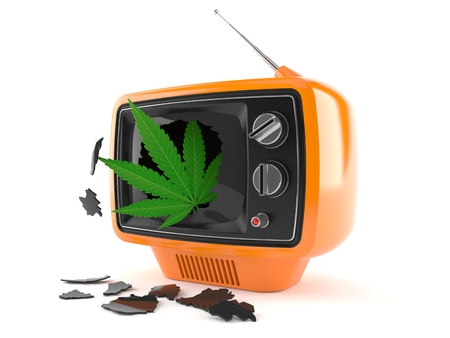 Cannabis leaf inside old tv isolated on white background. 3d illustration