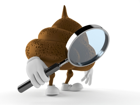 Poop character looking through magnifying glass isolated on white background. 3d illustration