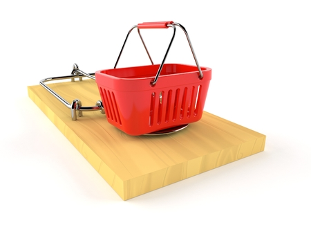 Shopping basket on mousetrap isolated on white background. 3d illustration