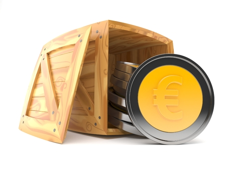 Euro coins inside wooden crate on white background. 3d illustration