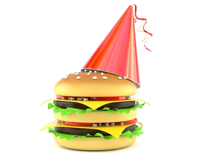 Cheeseburger with party hat isolated on white background. 3d illustration