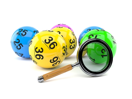 Lottery balls with magnifying glass isolated on white background. 3d illustration