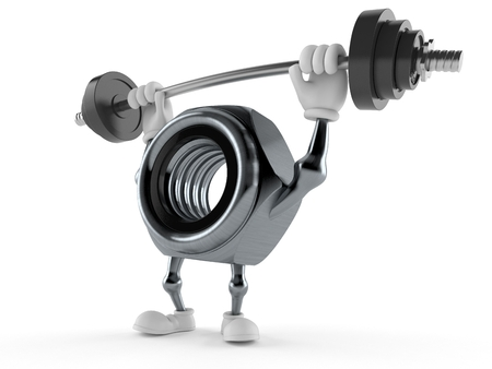 Nut character lifting heavy barbell isolated on white background. 3d illustration