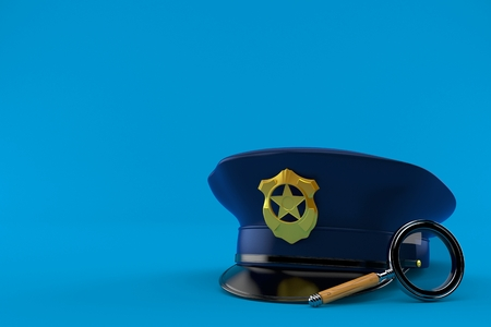 Police hat with magnifying glass isolated on blue background. 3d illustration Stock Photo