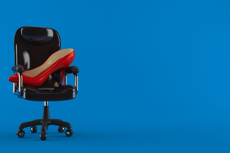 High heel on business chair isolated on blue background. 3d illustration