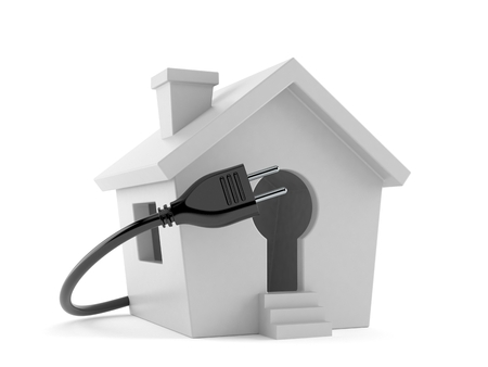 Small house with electric plug isolated on white background. 3d illustration Reklamní fotografie