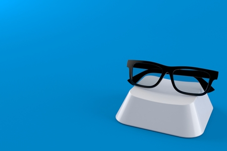 Glasses on computer key isolated on blue background. 3d illustration Imagens