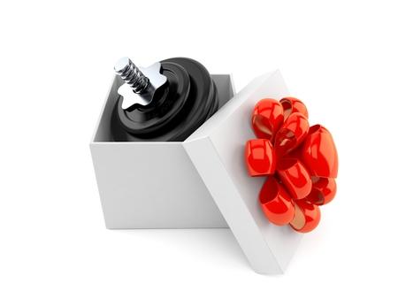 Dumbbell inside gift isolated on white background. 3d illustration Stock Photo