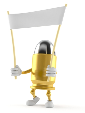 Bullet character holding blank banner isolated on white background. 3d illustration