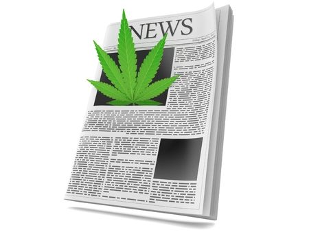 Cannabis leaf inside newspaper isolated on white background. 3d illustration