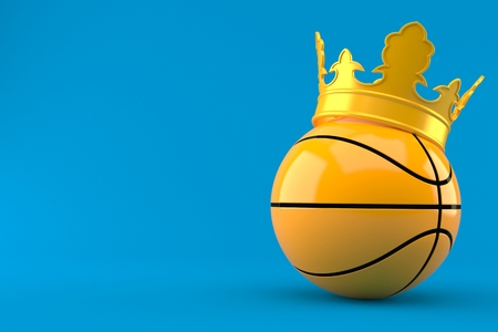 Basketball king concept isolated on blue background. 3d illustration Фото со стока
