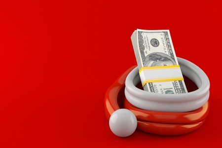 Dollar currency inside santa hat isolated on red background. 3d illustration