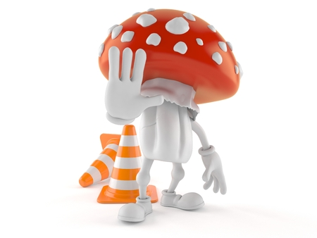 Toadstool character with stop gesture isolated on white background. 3d illustration