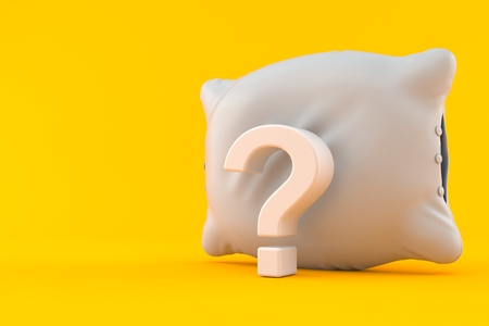 Pillow with question mark isolated on orange background. 3d illustration Stock Photo