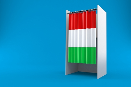 Vote cabinet with hungarian flag isolated on blue background. 3d illustration
